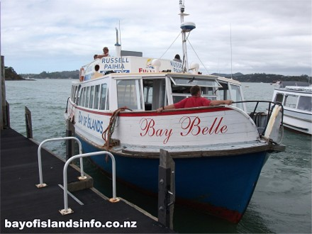 The Bay Belle Russell ferry departing from Paihia
