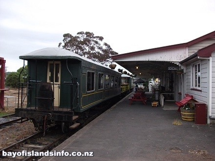 Bay of Islands Vintage Railway car at Kawakawa station