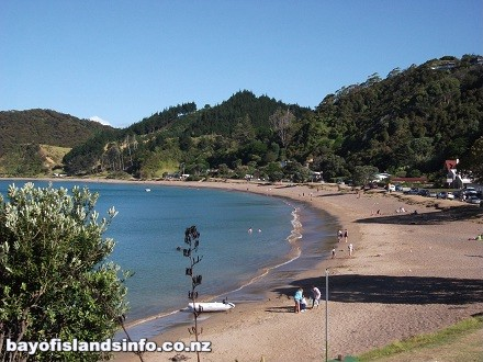 Long Beach in New Zealand with Blue Sky located in Russell, Bay Of Islands