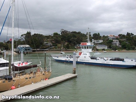 Car Ferry arriving at Opua, from Okiato. Run by Intercity Travel.