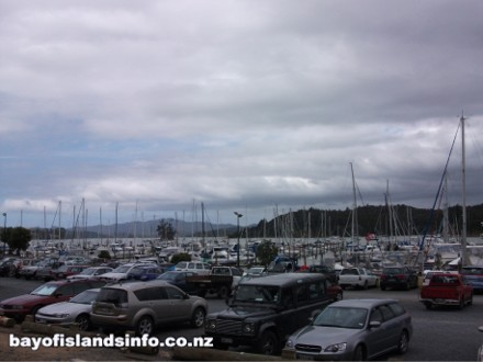 Port Opua Marina with hundreds of ships masts
